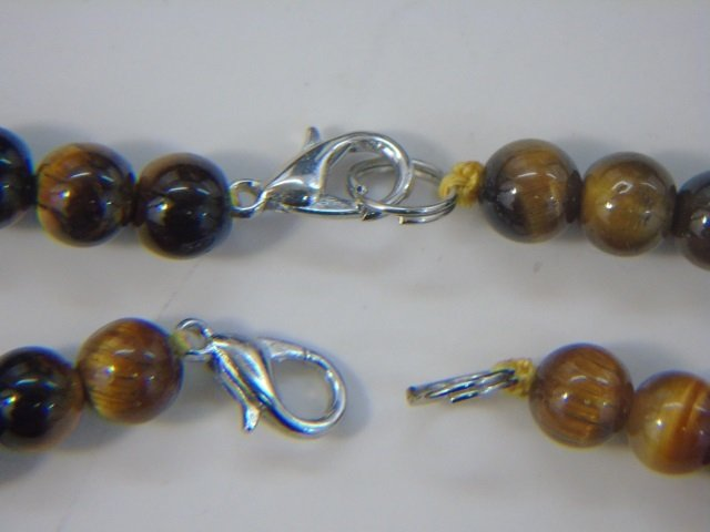Pair Graduated Carved Bead Tiger's Eye Necklaces - 2