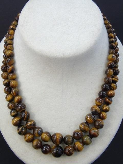 Pair Graduated Carved Bead Tiger's Eye Necklaces - 3