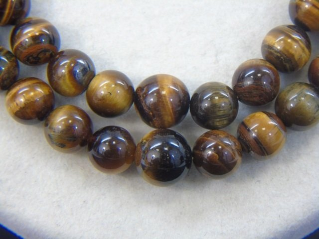 Pair Graduated Carved Bead Tiger's Eye Necklaces - 4
