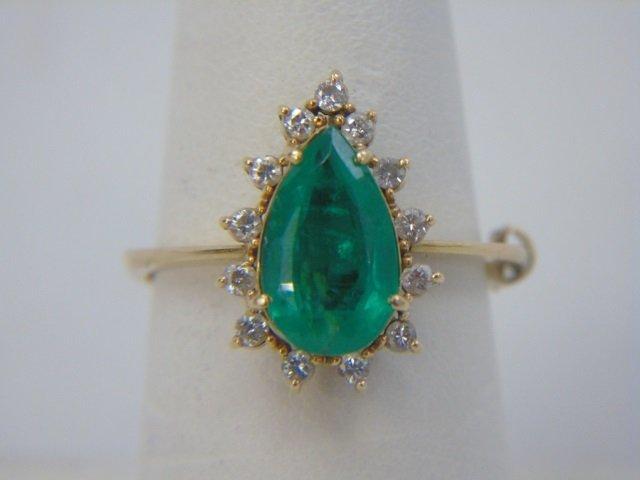 Estate Pear Shaped Emerald & Diamond Gold Ring