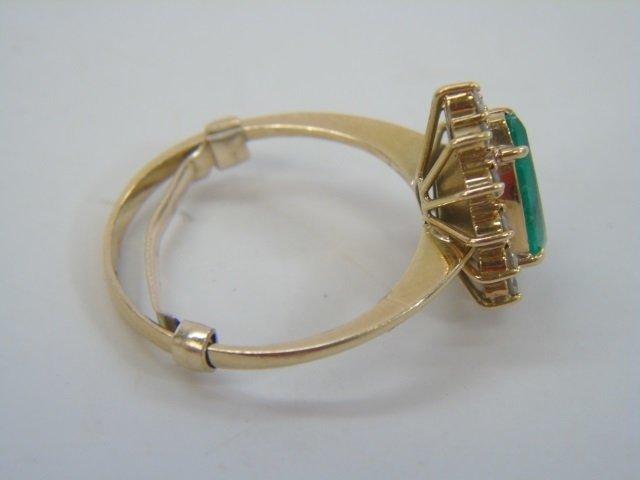 Estate Pear Shaped Emerald & Diamond Gold Ring - 4