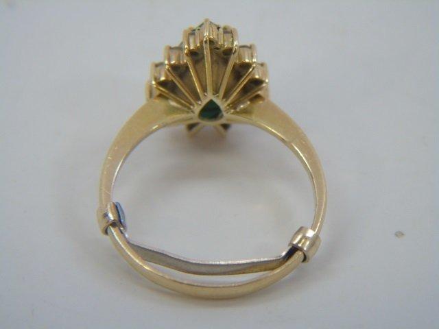 Estate Pear Shaped Emerald & Diamond Gold Ring - 5