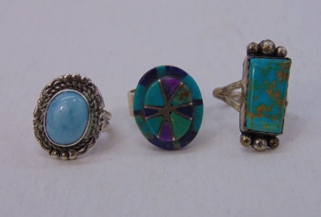 Three Vintage Native American Sterling Rings