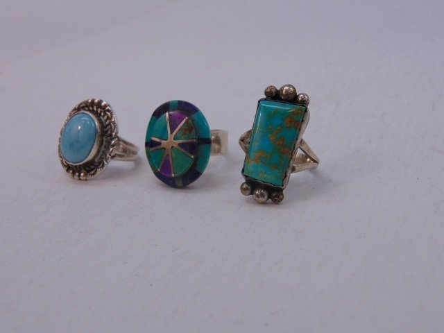 Three Vintage Native American Sterling Rings - 2
