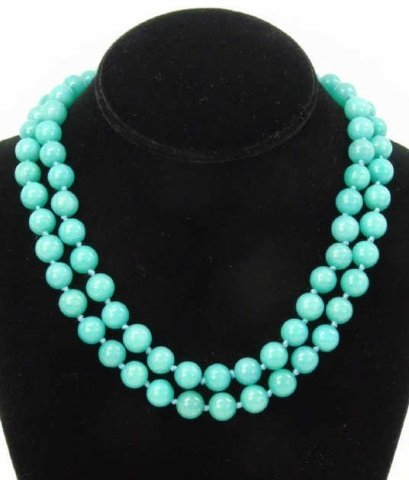 Pair Hand Knotted Amazonite Bead Necklace Strands