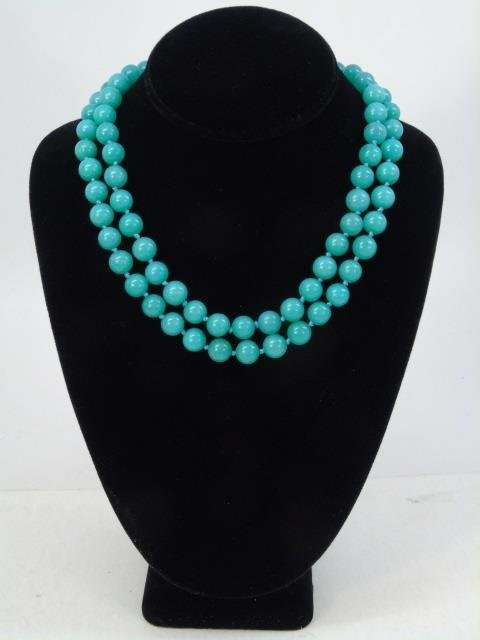 Pair Hand Knotted Amazonite Bead Necklace Strands - 2