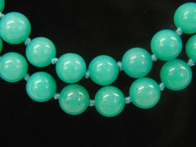Pair Hand Knotted Amazonite Bead Necklace Strands - 3