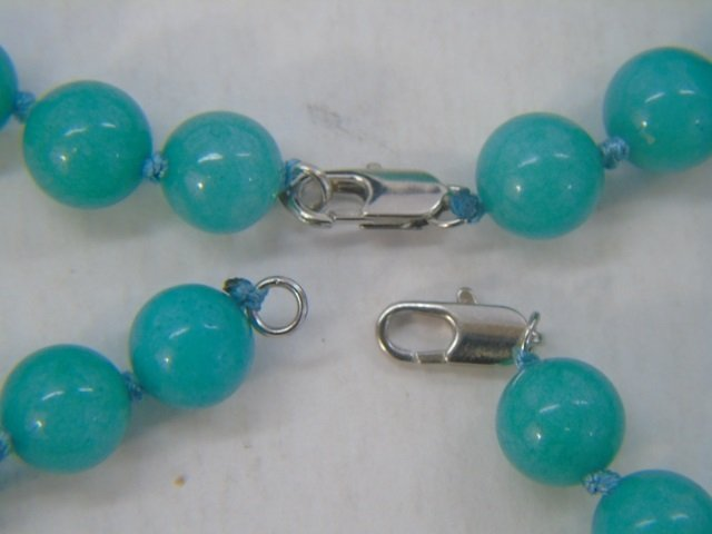 Pair Hand Knotted Amazonite Bead Necklace Strands - 4