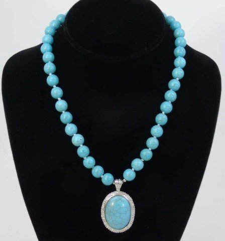 Native American Style Turquoise Necklace w Pendant