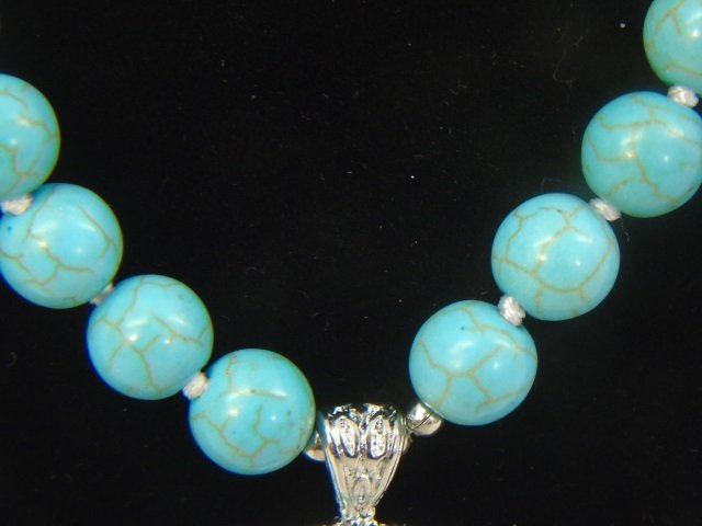 Native American Style Turquoise Necklace w Pendant - 5