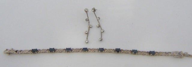 Sterling Silver Bracelet w/ Blue Gemstones