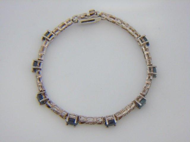 Sterling Silver Bracelet w/ Blue Gemstones - 2