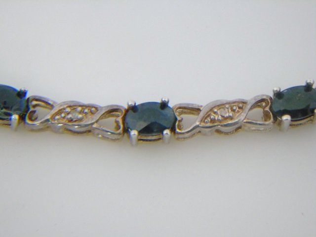 Sterling Silver Bracelet w/ Blue Gemstones - 4