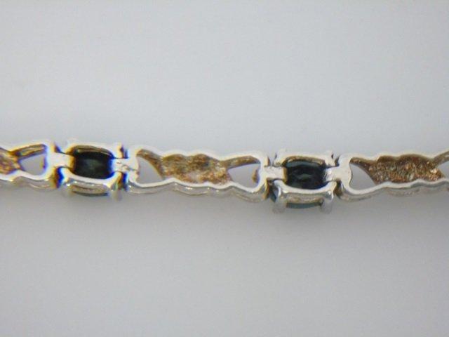 Sterling Silver Bracelet w/ Blue Gemstones - 5