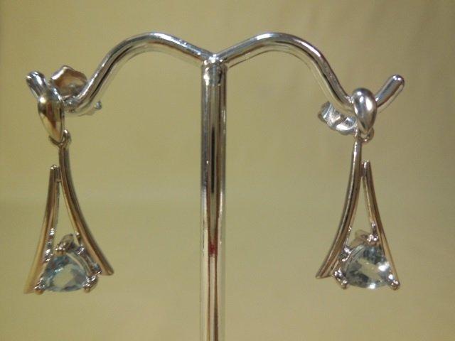 Pair 18kt White Gold Blue Topaz Dangle Earrings