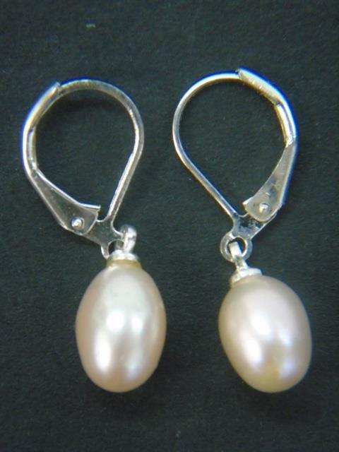 Jade, Cultured White & Black Pearl Earrings - 2