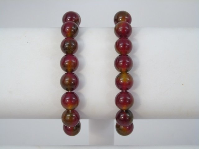Pair Carved Round Bead Spinel Bracelets