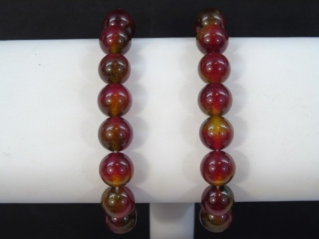 Pair Carved Round Bead Spinel Bracelets - 2