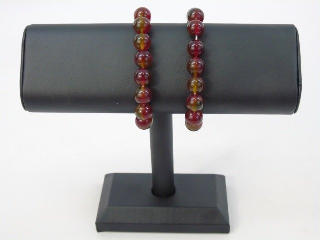 Pair Carved Round Bead Spinel Bracelets - 4