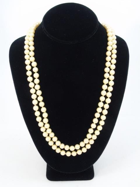 Vintage 54 Inch Hand Knotted Majorca Pearl Strand - 6