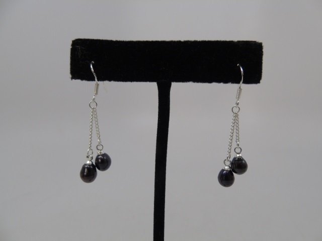 3 Pairs of Cultured White & Black Pearl Earrings - 2