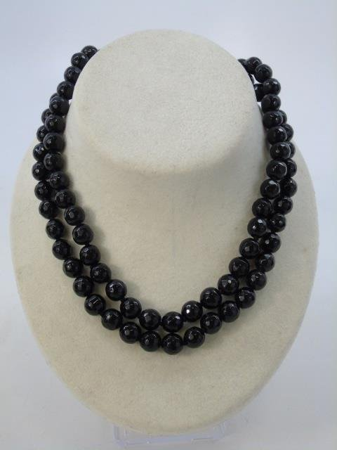Pair Faceted Black Onyx Beaded Necklace Strands - 2