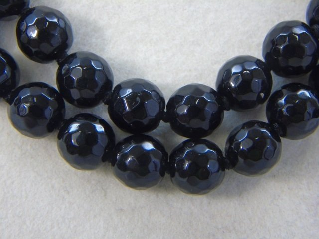 Pair Faceted Black Onyx Beaded Necklace Strands - 3