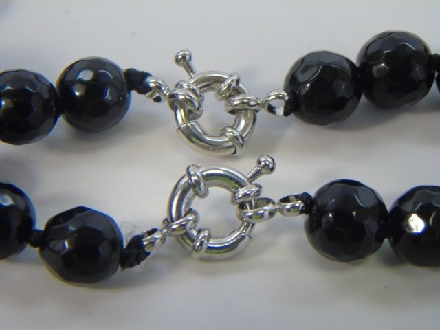 Pair Faceted Black Onyx Beaded Necklace Strands - 4