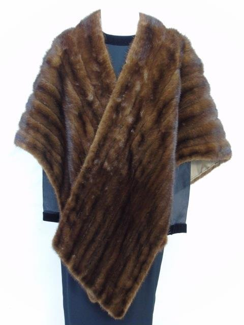 Vintage Silk Lined Dark Brown Mink Stole / Wrap
