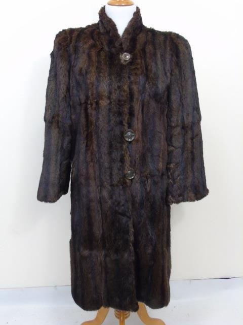 Vintage Ladies Brown Mink Silk Lined Coat