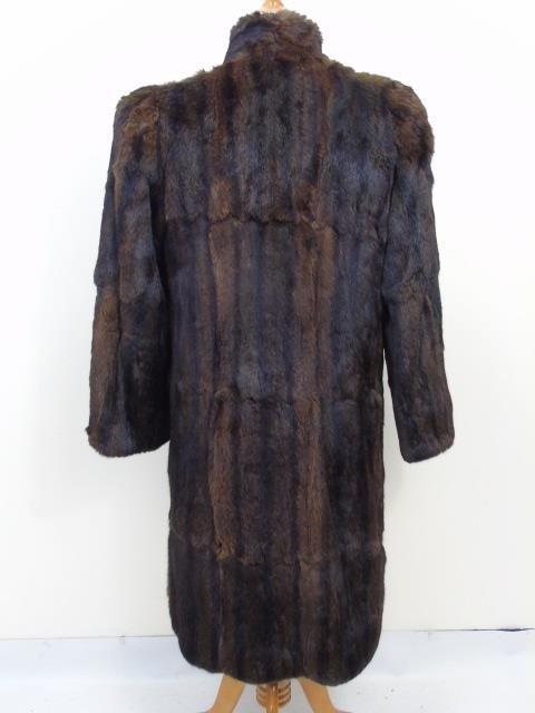 Vintage Ladies Brown Mink Silk Lined Coat - 3