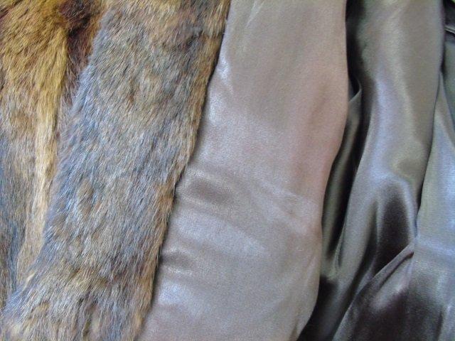 Vintage Ladies Brown Mink Silk Lined Coat - 5