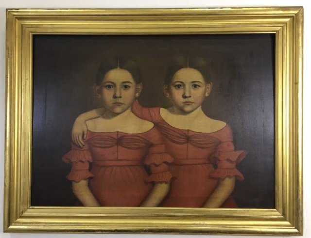 Early American 19th C Portrait Painting of Twins
