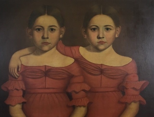 Early American 19th C Portrait Painting of Twins - 2