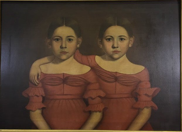 Early American 19th C Portrait Painting of Twins - 3