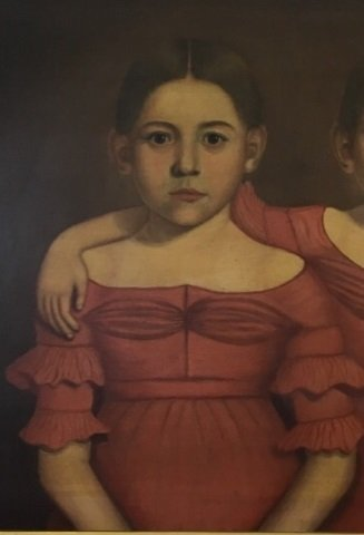 Early American 19th C Portrait Painting of Twins - 7