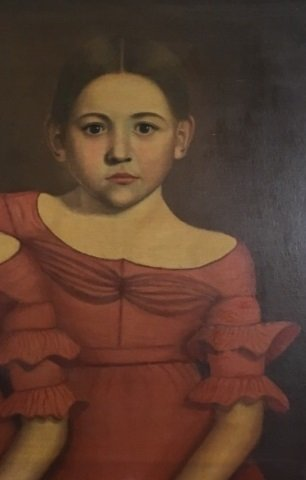 Early American 19th C Portrait Painting of Twins - 8