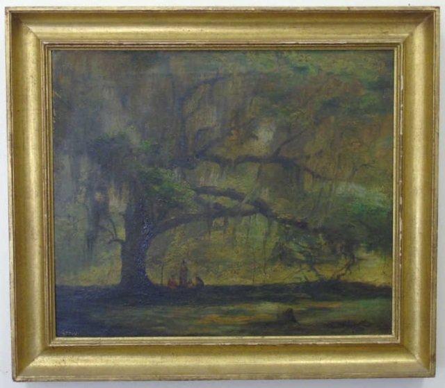 Antique American Landscape Painting w Live Oak