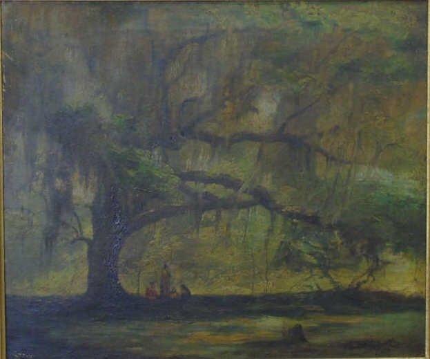 Antique American Landscape Painting w Live Oak - 2