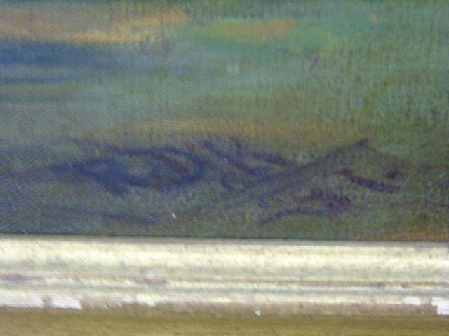 Antique American Landscape Painting w Live Oak - 3