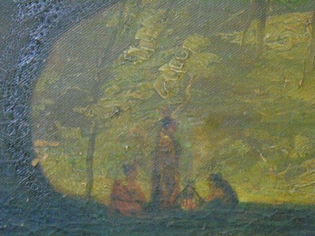Antique American Landscape Painting w Live Oak - 5