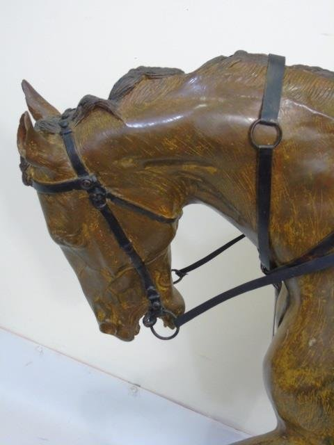 Large Equestrian / Jockey Painted Bronze Statue - 2