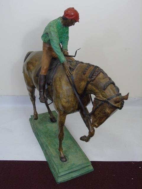 Large Equestrian / Jockey Painted Bronze Statue - 3