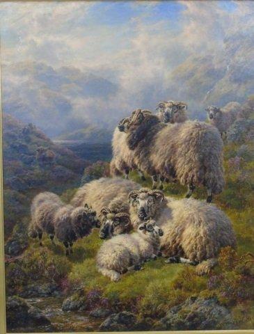 William Watson - Large Landscape Painting w Sheep - 2