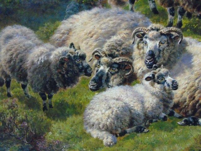 William Watson - Large Landscape Painting w Sheep - 3