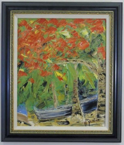 Flamboyant Saint Barths Signed 20th C Oil Painting