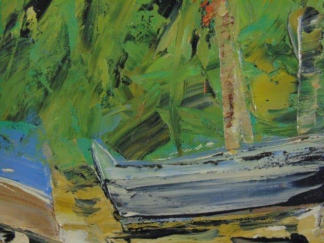 Flamboyant Saint Barths Signed 20th C Oil Painting - 4