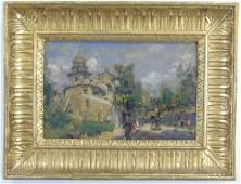 Antique Framed Continental Oil Painting on Board