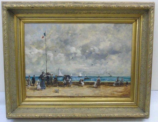 Turri - Oil Painting on Canvas French Beach Scene