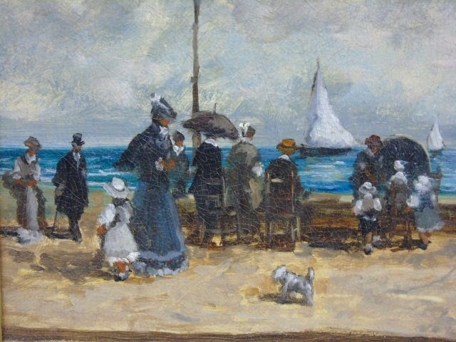 Turri - Oil Painting on Canvas French Beach Scene - 3